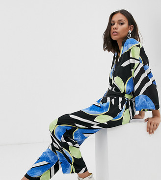 NATIVE YOUTH exclusive relaxed jumpsuit in abstract polka dot-Multi