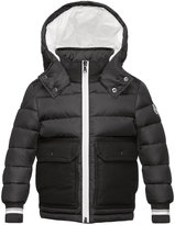 Moncler Rabelais Hooded Wool-Trim Puffer Coat, Gray, Size 8-14