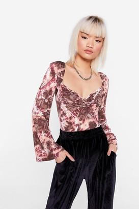 Nasty Gal Womens Hey Me Again Petite Tie Dye Bodysuit - Brown