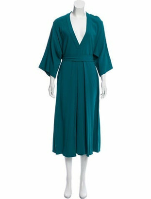 Tome Plunging Neck Midi Dress Blue