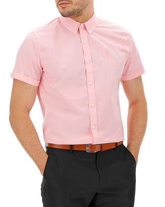 Jacamo Pink Button Down Collar Embroid Shirt