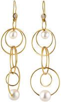 Ippolita 18k Gold Nova Mini Jet Set Pearl & Diamond Dangle Earrings