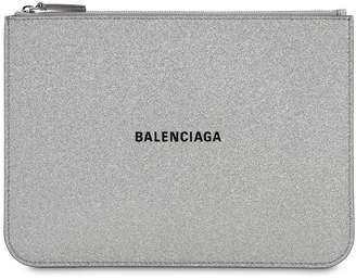 Balenciaga EVERYDAY GLITTERED LEATHER POUCH