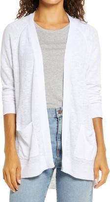Caslon Linen Blend Open Front Cardigan