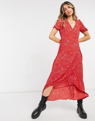 Vero Moda max wrap dress in berry red