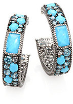 Multi Gemstone Hoop Earrings/0.7