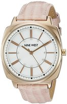 Nine West Women's NW/1728WMPK Swarovski Crystal Accented Rose Gold-Tone and Blush Pink Leather Strap Watch