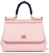 Dolce & Gabbana Sicily Small Embellished Textured-leather Tote - Pastel pink