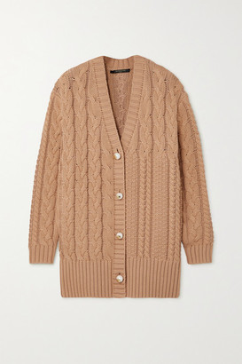 Mother of Pearl Net Sustain Aria Cable-knit Organic Cotton And Wool-blend Cardigan - Camel