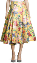 Valentino Romantic Garden Brocade A-Line Skirt, Yellow/Multi