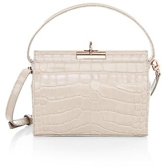 Gu_de Small Milky Croc-Embossed Leather Crossbody Bag