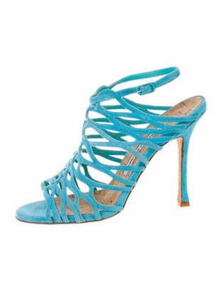 Manolo Blahnik Suede Gladiator Sandals Blue