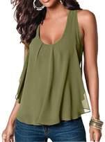 Amstt Women Crewneck Sleeveless Chiffon Casual Loose Tank Top Shirt (S, )