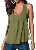 Amstt Women Crewneck Sleeveless Chiffon Casual Loose Tank Top Shirt (XL, )