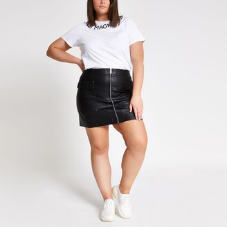 River Island Womens Plus Black faux leather utility mini skirt