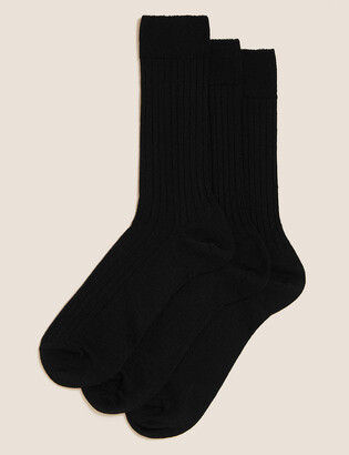 Marks and Spencer 3 Pack Lambswool Rich Smart Socks