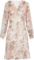 Gina Bacconi Taupe blush watercolour chiffon dress