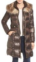 Via Spiga Quilted Coat with Faux Fur Trim