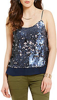 Chelsea & Violet Scoop Neck Flip Sequined Tank