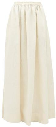 Matteau - Hemline-slit Linen-blend Maxi Skirt - Womens - Ivory