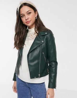 Pimkie faux leather biker jacket in green