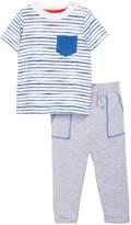Isaac Mizrahi Striped Short Sleeve Tee & Pant Set (Baby Boys 0-9M)