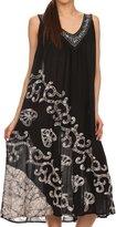 Sakkas 15005 - Addilyn Embroidered Tank Top Split Neck Dress / Cover Up - OS