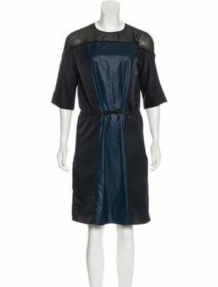 Lanvin Three-Quarter Sleeve Shift Dress Black
