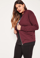 Missguided Plus Size Burgundy Jersey Bomber Jacket