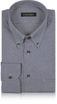 Forzieri Blue and White Button-down Woven Cotton Shirt