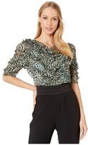 Rebecca Taylor Short Sleeve Lynx Ruffle Top (Light Sage Combo) Women's Clothing