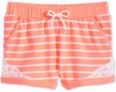 Epic Threads Striped Crochet-Trim Shorts, Big Girls, Created for Macy's