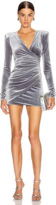 Alexandre Vauthier Ruched Velvet Mini Dress in Steel | FWRD