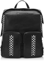 LENNOX Black Leather Backpack with Punk Studs