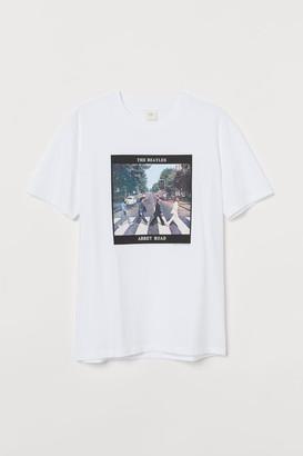 H&M T-shirt with Printed Emblem - White