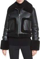 A.L.C. Archer Lamb Leather/Fur Jacket, Black