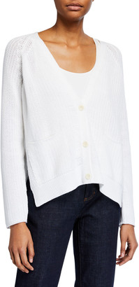 Eileen Fisher V-Neck Button-Front Corded Cardigan