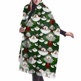 Gong Primitive Santa'S Christmas Shawl Wrap Winter Warm Scarf Cape Large Soft Cozy Cashmere Scarf Wrap Womans Warm Shawl Stole