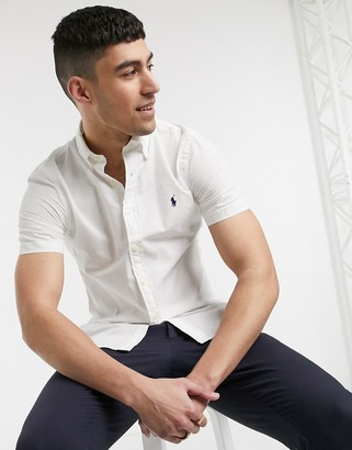 Polo Ralph Lauren short sleeve slim fit seersucker shirt buttondown player logo in white