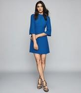 Reiss CORA BELL SLEEVE SHIFT DRESS Cobalt Blue