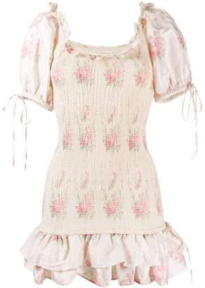 LoveShackFancy ruched Violet mini dress