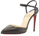 Christian Louboutin Biala Spike Leather Red Sole Pump, Black