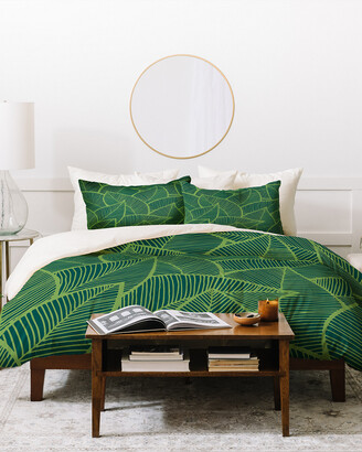 Deny Designs Arcturus Lime Green Leaves Duvet Cover Set