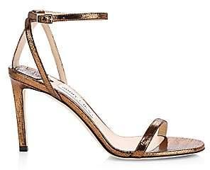 Jimmy Choo Women's Minny Ankle-Strap Lizard-Embossed Metallic Leather Sandals