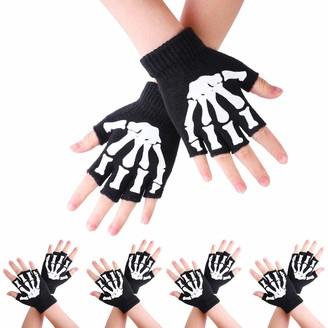 Zimuuy 1/2/5 Pairs Kids Skeleton Pattern Gloves Glow in The Dark Kids Fingerless Gloves Knitted Fluorescence Gloves Kids Winter Mitten(1 Pairs)