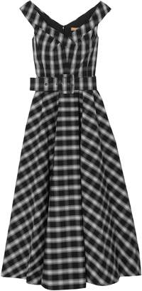 Michael Kors Belted Checked Cotton-blend Poplin Midi Dress