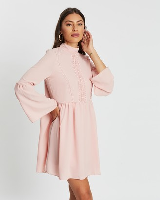 boohoo Crochet Detail Wide Sleeve Smock Dress