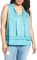 Democracy Plus Size Women's Ruffle Trim Tie Neck Top