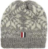 Thom Browne Grey Ribbed Snowflake Wool-mohair Beanie