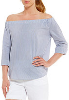 Westbound 3/4 Sleeve Striped Off-the-Shoulder Top